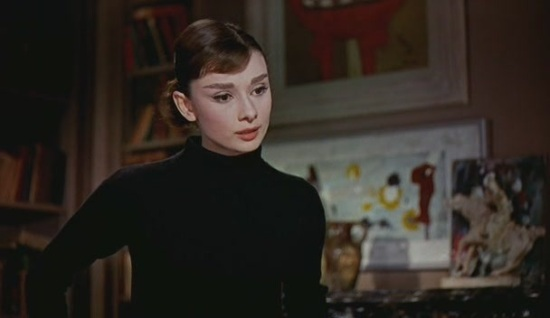 Audrey Hepburn funny face 50s black polo neck beatnik film screengrab